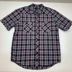 RVCA Plaid Snap Button Down Shirt Size XL